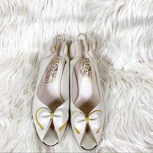 Ferragamo sling back heels bow peep toe vintage